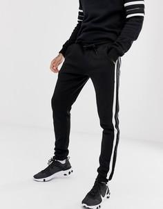 Облегающие черные джоггеры с полосками и логотипом Good For Nothing - Черный