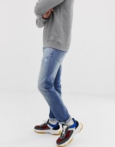 Светло-синие выбеленные узкие джинсы стретч Calvin Klein Jeans 026 - Синий