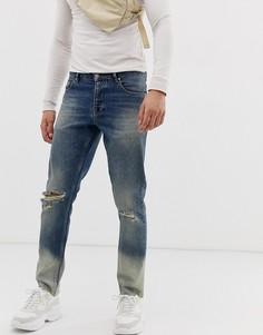 Выбеленные узкие джинсы с прорехами на коленях ASOS DESIGN - Синий