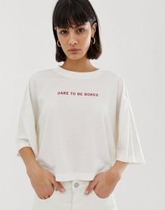 Белая футболка с принтом Weekday Recycled Edition - Белый