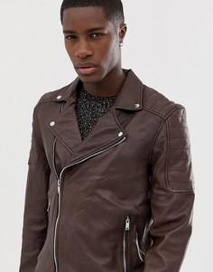 Стеганая куртка из натуральной кожи Bolongaro Trevor - Коричневый