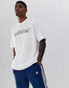 Белая футболка с вышитым логотипом в винтажном стиле adidas Originals FH7909 - Белый