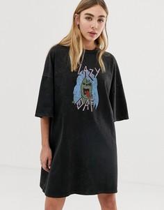 Свободное платье-футболка с принтом и эффектом кислотной стирки Lazy Oaf - Черный