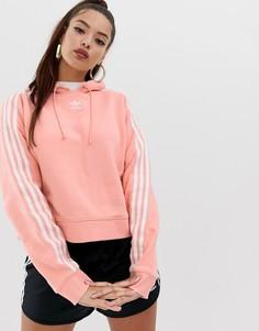 Укороченный розовый худи adidas Originals adicolor - Розовый