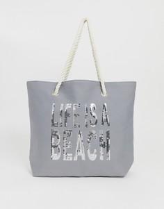 Пляжная сумка с надписью ASOS DESIGN - Серый