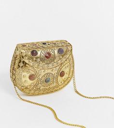 Золотистая сумка через плечо с отделкой камнями Glamorous - Золотой