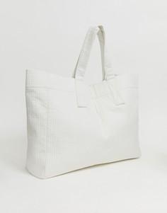 Белая большая сумка-тоут Weekday Recycled Edition - Синий