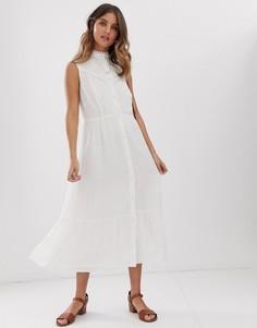 Платье миди без рукавов с кружевной вставкой Stevie May Aralia - Белый
