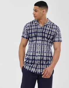 Рубашка с отложным воротником и принтом Selected Homme - Темно-синий