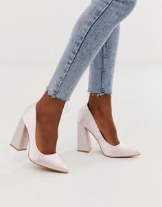 Остроносые туфли на массивном каблуке Glamorous - Розовый