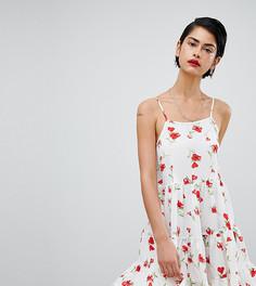 Свободное платье на бретельках с цветочным принтом Missguided - Красный