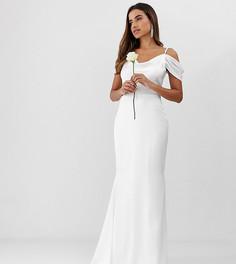 Белое платье макси с открытыми плечами и годе Missguided - Белый