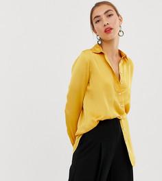 b6a73d1670d0 Желтая атласная oversize-рубашка Stradivarius - Желтый