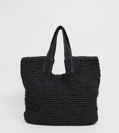 Черная соломенная сумка-шоппер Pull&Bear - Черный