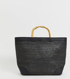 Черная сумка-шоппер с деревянными ручками Stradivarius - Черный