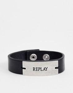 Черный кожаный браслет-манжета с логотипом Replay - Черный