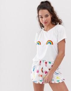Пижама с принтом радуги Chelsea Peers - Белый