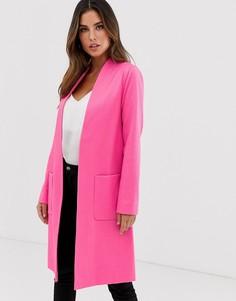 Длинное жаккардовое пальто с открытым передом Helene Berman - Розовый