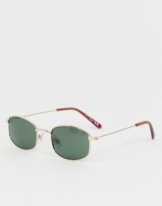 Солнцезащитные очки в золотистой узкой овальной оправе Jeepers Peepers - Золотой