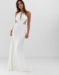 Платье макси с американской проймой и отделкой по бокам Jovani - Белый