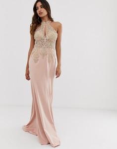 Платье макси с халтером и отделкой Jovani - Розовый