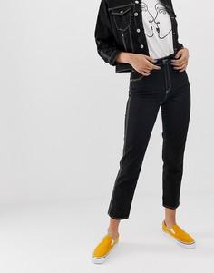 Джинсы в винтажном стиле с завышенной талией и контрастными строчками Abrand 94 - Черный