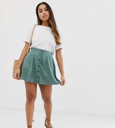 Зеленая мини-юбка в горошек с пуговицами ASOS DESIGN Petite - Мульти