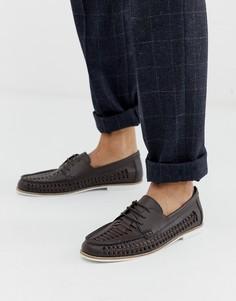 Коричневые кожаные плетеные туфли KG by Kurt Geiger - Коричневый