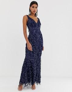 Темно-синее платье макси с глубоким вырезом и бахромой из пайеток Goddiva - Темно-синий