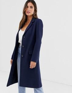 Пальто с черепаховыми пуговицами Helene Berman - College - Темно-синий