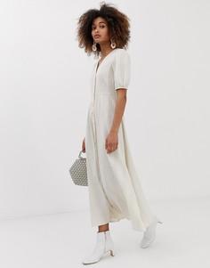 Льняное платье макси с пуговицами спереди в тонкую полоску Neon Rose - Серый