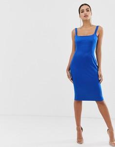Атласное облегающее платье с квадратным вырезом Vesper - Синий