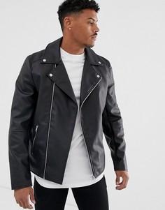 Черная байкерская куртка из искусственной кожи ASOS DESIGN - Черный