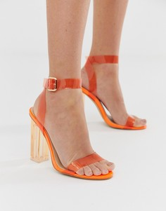 Оранжевые босоножки на каблуке Public Desire Alia - Оранжевый