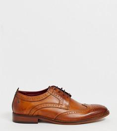 Светло-коричневые кожаные броги для широкой стопы Base London - Рыжий