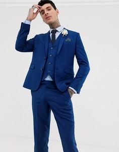 Синий фактурный приталенный пиджак Harry Brown - Синий