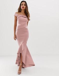 Платье макси с перекрестным дизайном, открытыми плечами и оборками Lipsy - Коричневый