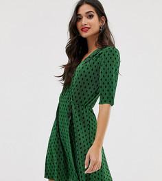 Плиссированное платье мини в горошек с пуговицами ASOS DESIGN Petite - Мульти