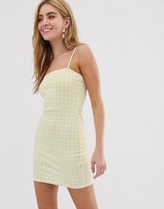 Платье в клетку с квадратным вырезом Daisy Street - Желтый