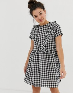 Свободное платье в клетку с оборками Daisy Street - Черный