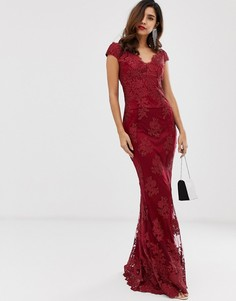 Кружевное платье макси со спущенными плечами и цветочным принтом City Goddess - Красный
