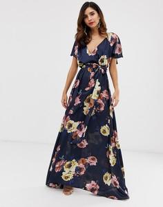 Платье макси с расклешенными рукавами и цветочным принтом City Goddess - Темно-синий