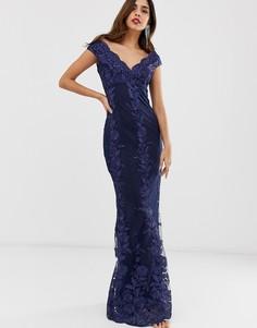 cd6e1b8160cfd2c Кружевное платье макси со спущенными плечами и цветочным принтом City  Goddess - Темно-синий