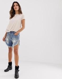 Удлиненные джинсовые шорты с необработанным краем One Teaspoon - Синий