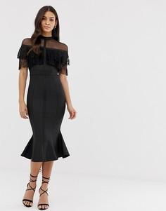 Платье миди с кружевом и оборками Forever Unique - Черный