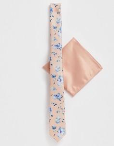 Узкий галстук и платок для пиджака с цветочным принтом ASOS DESIGN - Розовый
