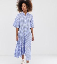 Платье-рубашка миди на пуговицах с пышной юбкой Sister Jane - Синий