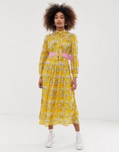 Платье миди с плиссированной юбкой и ярким цветочным принтом Sister Jane - Желтый