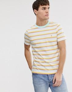 Белая приталенная футболка в полоску Farah Piper - Белый
