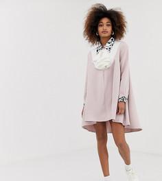 Свободное платье на пуговицах с принтом и асимметричным подолом Sister Jane - Розовый